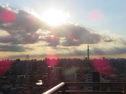 神風の伊勢に向かえば富士山と大嘗祭の西の雲と日
