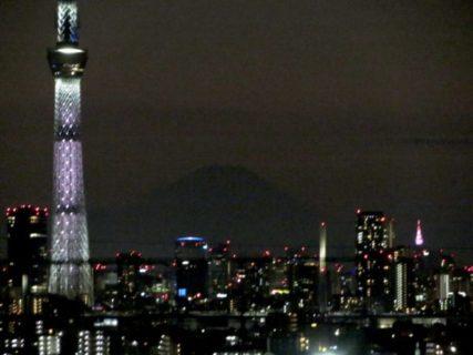 西側を眺めてみればレイライン夜の富士山皇居伊勢